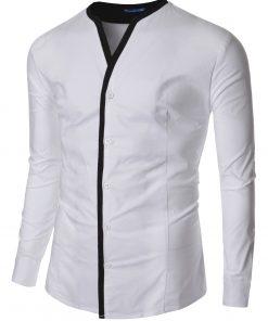 Мъжка бяла риза без яка Даниел - Alf.ro