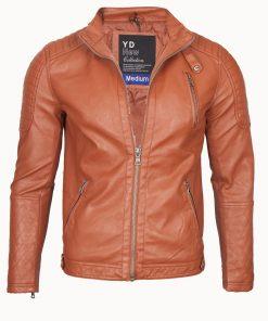 Мъжко кожено яке - 3199 Светлокафяво - Alf.ro